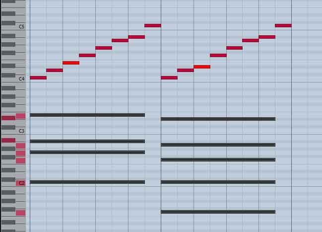 Mode Mixolydien, puis mode Dorien sur Do7, Fa7.