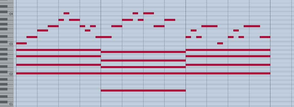 Mélodie en pentatonique mineure sur accords majeurs, Do Fa Do